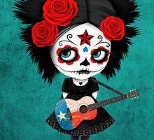 Sugar Skull Girl Playing Texas Flag Guitar by Jeff Bartels