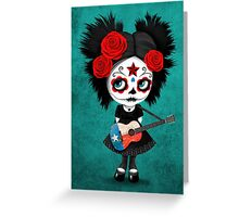 Sugar Skull Girl Playing Texas Flag Guitar Greeting Card