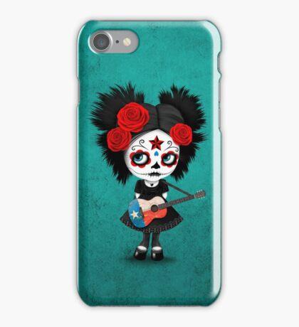 Sugar Skull Girl Playing Texas Flag Guitar iPhone Case/Skin