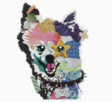 Pomeranian Mixed Media Collage Kids Tee