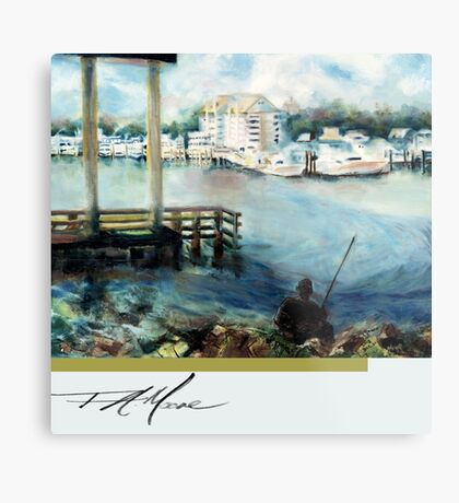 Gone Fishing. FA Moore Signature design, in Cloud White Metal Print