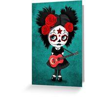 Sugar Skull Girl Playing Turkish Flag Guitar Greeting Card