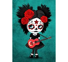 Sugar Skull Girl Playing Turkish Flag Guitar Photographic Print