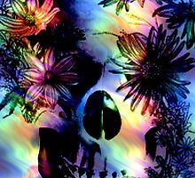 SKULL SURROUNDED BY FLOWERS by butterflyscream