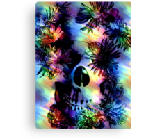 SKULL SURROUNDED BY FLOWERS Canvas Print
