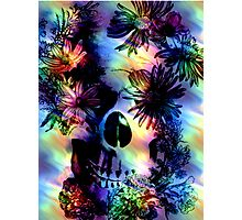 SKULL SURROUNDED BY FLOWERS Photographic Print