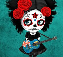 Sugar Skull Girl Playing Turks and Caicos Flag Guitar by Jeff Bartels