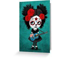 Sugar Skull Girl Playing Turks and Caicos Flag Guitar Greeting Card