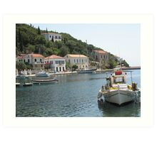 A Fishing Harbour on the Island of Kefalonia Art Print