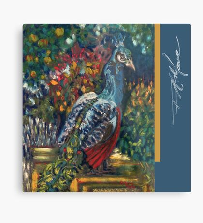 Peacock Garden. FA Moore Signature design, in Marine Blue Metal Print
