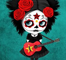 Sugar Skull Girl Playing Vietnamese Flag Guitar by Jeff Bartels