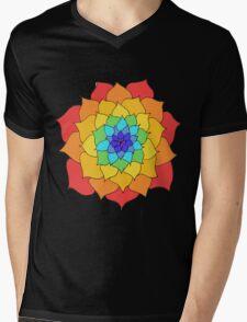 Rainbow Flower Mens V-Neck T-Shirt