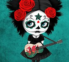 Sugar Skull Girl Playing Welsh Flag Guitar by Jeff Bartels