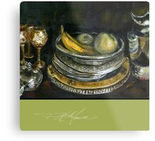 China Cabinet Still Life I. FA Moore Signature design, in Apple Green Metal Print