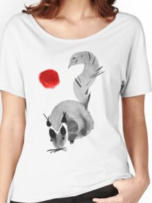 watercolor squirrel. Watercolor hand drawn brush vector  Women's Relaxed Fit T-Shirt