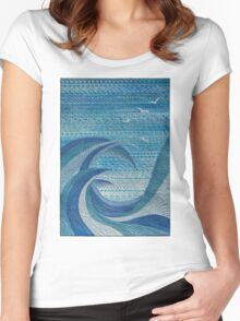 The Churning (embroidered seascape) Women's Fitted Scoop T-Shirt