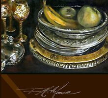 China Cabinet Still Life I. FA Moore Signature design, in Red Wine by F.A. Moore