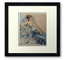 PASTEL PORTRAIT OF A WOMAN Framed Print