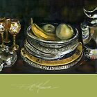 China Cabinet Still Life I. FA Moore signature scarf, in apple green by F.A. Moore