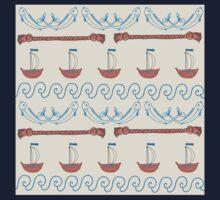 Seamless sea pattern. Vector illustration with marine elements. Kids Tee