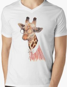 Lady Giraffe Mens V-Neck T-Shirt