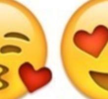 Kissy Face and Heart Eyes Emoji Sticker