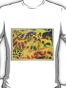ANIMAL PRINT WOODCUT HAND COLORED T-Shirt