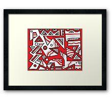 Makela Abstract Expression Red White Black Framed Print