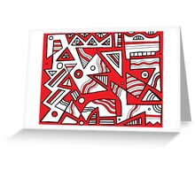 Makela Abstract Expression Red White Black Greeting Card
