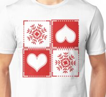 Snowflake Hearts Red and White Pattern Unisex T-Shirt