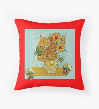 Sunflowers and Skulls Throw Pillow