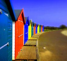 Bright Beach Huts by Charmiene Maxwell-batten
