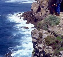 Fishing From A Great Height. Cape St. Vincent. Portugal. by Peter Stephenson