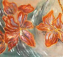 Abstract Cherryblossoms III, Stefania Silk Arts by Stefanie Wilhelm
