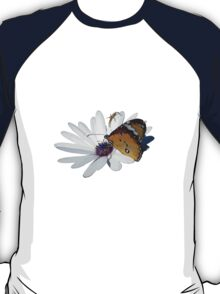 White Daisy and Butterfly Vector Background Removed T-Shirt