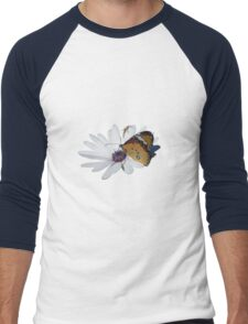 White Daisy and Butterfly Vector Background Removed Men's Baseball ¾ T-Shirt