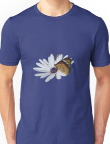 White Daisy and Butterfly Vector Background Removed Unisex T-Shirt