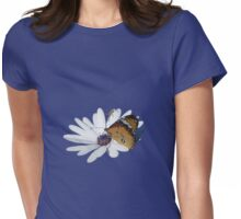 White Daisy and Butterfly Vector Background Removed Womens Fitted T-Shirt