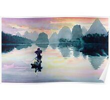 """""""Cormorant Fisherman"""" Watercolor Poster"""