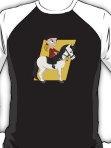 Girl riding a horse cartoon T-Shirt