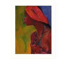 Lady With Red Head-Dress Art Print