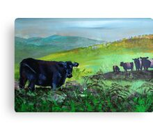 Cows on Dartmoor Landscape Painting Canvas Print