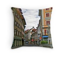 Quiet walk through the town Throw Pillow