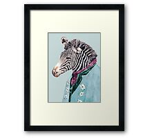 Zebra Blue Framed Print