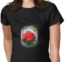 Basket with red roses Womens Fitted T-Shirt