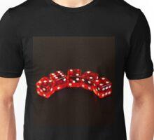 Dice isolated on black background Unisex T-Shirt