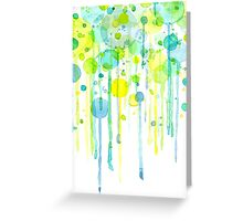Green and yellow abstract bubbles Greeting Card