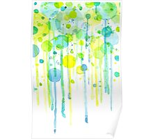 Green and yellow abstract bubbles Poster