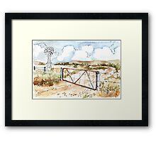 A windpomp and a gate Framed Print