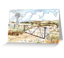 A windpomp and a gate Greeting Card